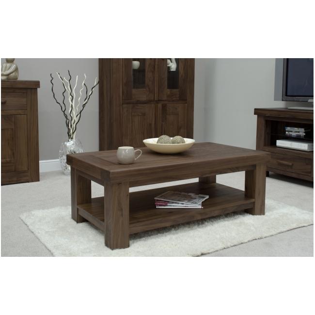 Fama Solid Dark Wood Walnut Living Room Furniture Coffee Table (View 5 of 10)