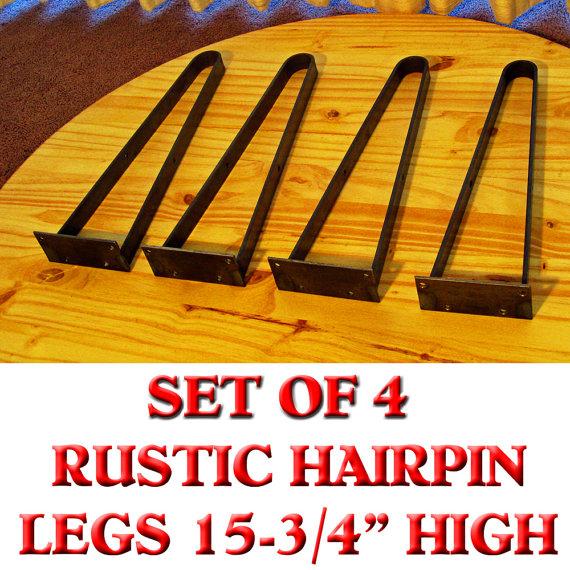 Furniture 4 Rustic Hairpin Metal Legs Coffee Or Rd Table Bench Legs Unpainted Rustic Coffee Table Legs (View 2 of 7)