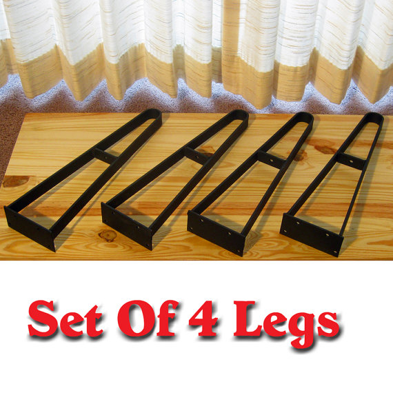 Furniture Metal Rustic Hairpin Coffee Table Legs Or Bench Legs With Shelf Bracket Set Of 4 Legs (View 3 of 7)
