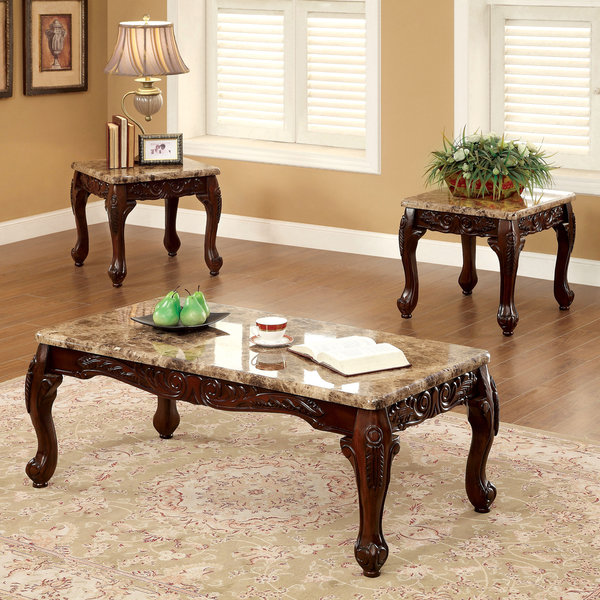 Furniture Of America Carnes Dark Cherry 3 Piece Accent Table Set (View 7 of 9)