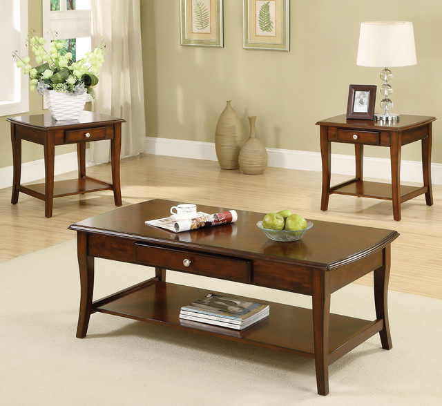 Furniture Of America Nashey 3 Piece Casual Dark Oak Finish Coffee End Table Set Contemporary (View 8 of 10)
