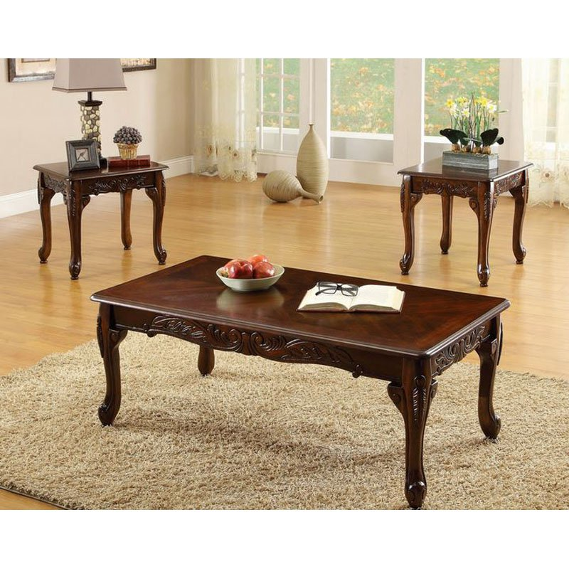 Furniture Of America Winslow 3 Piece Coffee Table Set Dark Cherry (View 8 of 9)