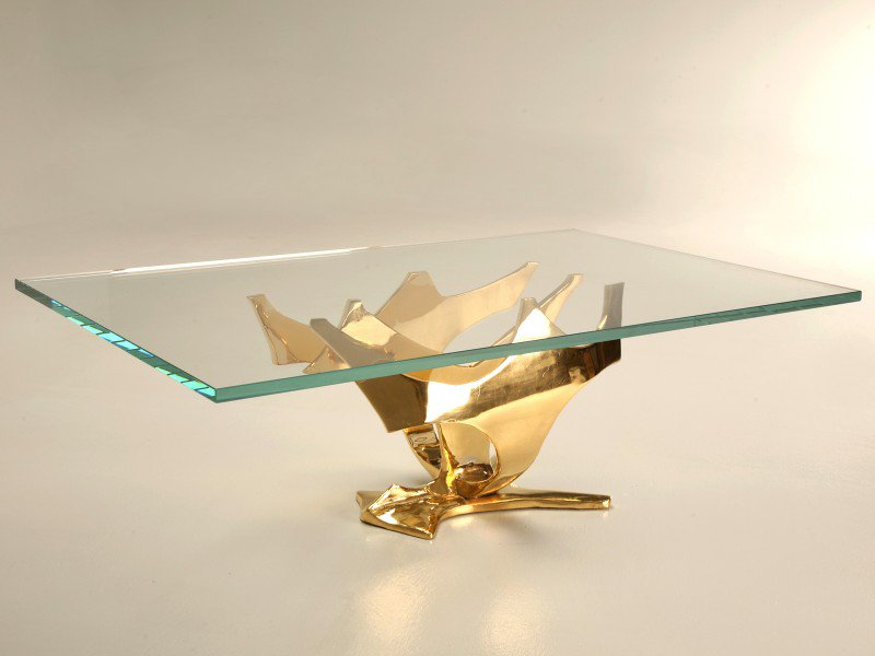 Glass-And-Gold-Coffee-Table-drawer-Wood-Storage-Accent-Side-Table-Handmade-Contemporary-Furniture (Image 3 of 10)