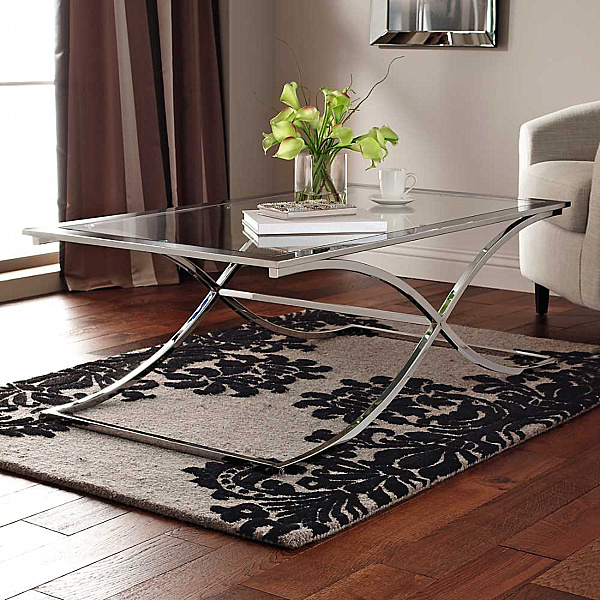 Glass Chrome Coffee Table Modern Design Sofa Table Contemporary Wooden But Also Suspends A Woven Cat Hammock Below So You (Image 5 of 10)