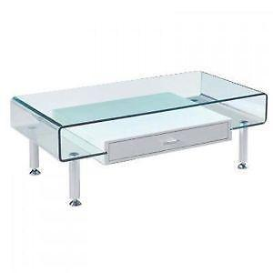 Glass Coffee Table Cheap Modern Clear Bent Glass Rectangular Available Also In Painted Glass As Per Samples In The Bright Or Mat Version Coffee Table Strada M (View 7 of 10)