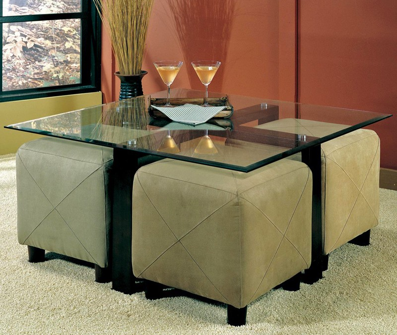 2018 Popular Glass Coffee Tables With Ottomans