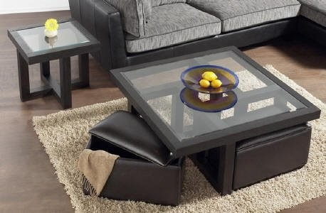Glass Coffee Table With Ottomans You Have To Know That The Glass Coffee Table Has The Expensive Price To Deal. That Is Why If You Have The Limited Budget For  (Image 10 of 10)