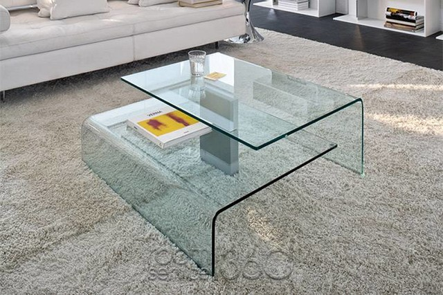 Glass Coffee Table Shape Ensures That This Piece Will Make A Statement The Shelf Underneath Is For Magazines (View 6 of 10)