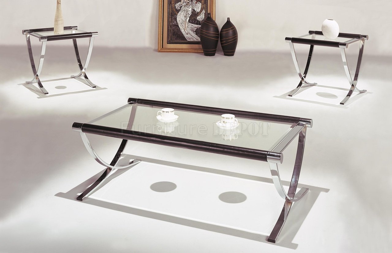 Glass Coffee Tables And End Tables Set Of Glass Top Contemporary Coffee End Tables W Chrome Legs (Image 10 of 10)