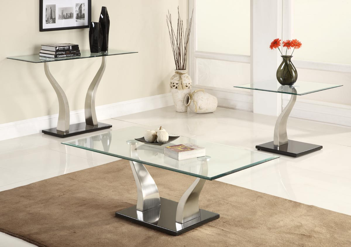 Glass Coffee Table Sets Contemporary And Brown Carpet Ideas (Image 7 of 8)