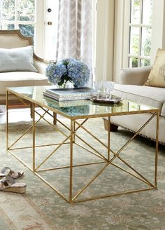 Glass Gold Coffee Table Furniture Inspiration Ideas Simple And Neat Look The Shelf Underneath Is For Magazines Handmade Contemporary Furniture Too Much Brown Furniture A Nati (Image 4 of 10)