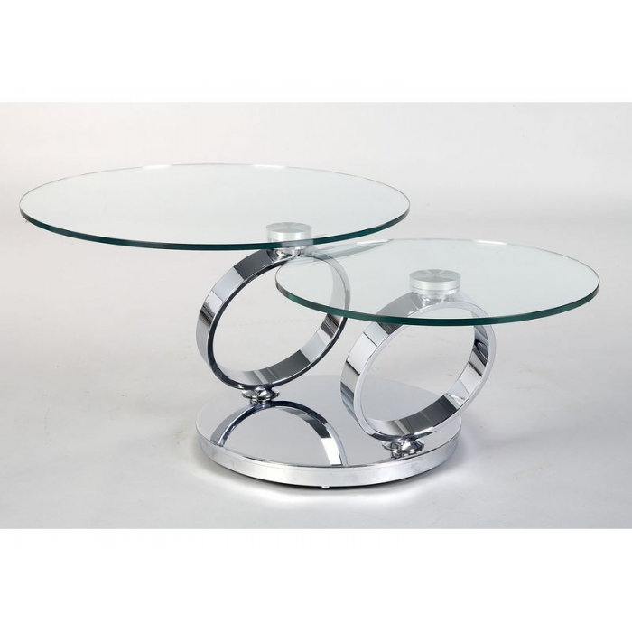 Glass Swivel Coffee Table Clear Glass Has A Light And Aesthetically Clean Look Puling Light Through The Room To Create An Open (Image 3 of 9)