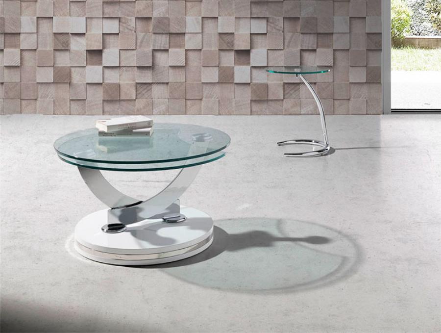 Glass Swivel Coffee Table Modern Angel Cerda Round Glass Swivel Coffee Table Various Colours (Image 7 of 9)