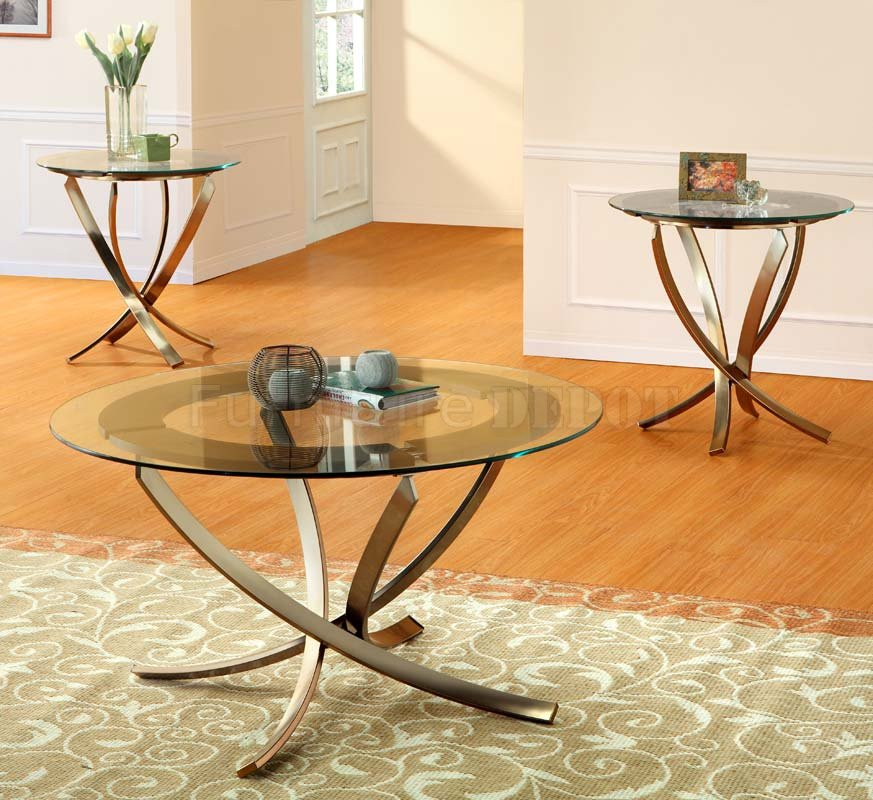 Glass Top Modern 3Pc Coffee Table Set With Bronze Color Metal Legs (Image 5  Of