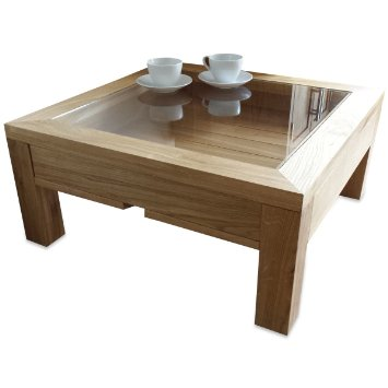 Featured Photo of Glass Top Oak Coffee Table