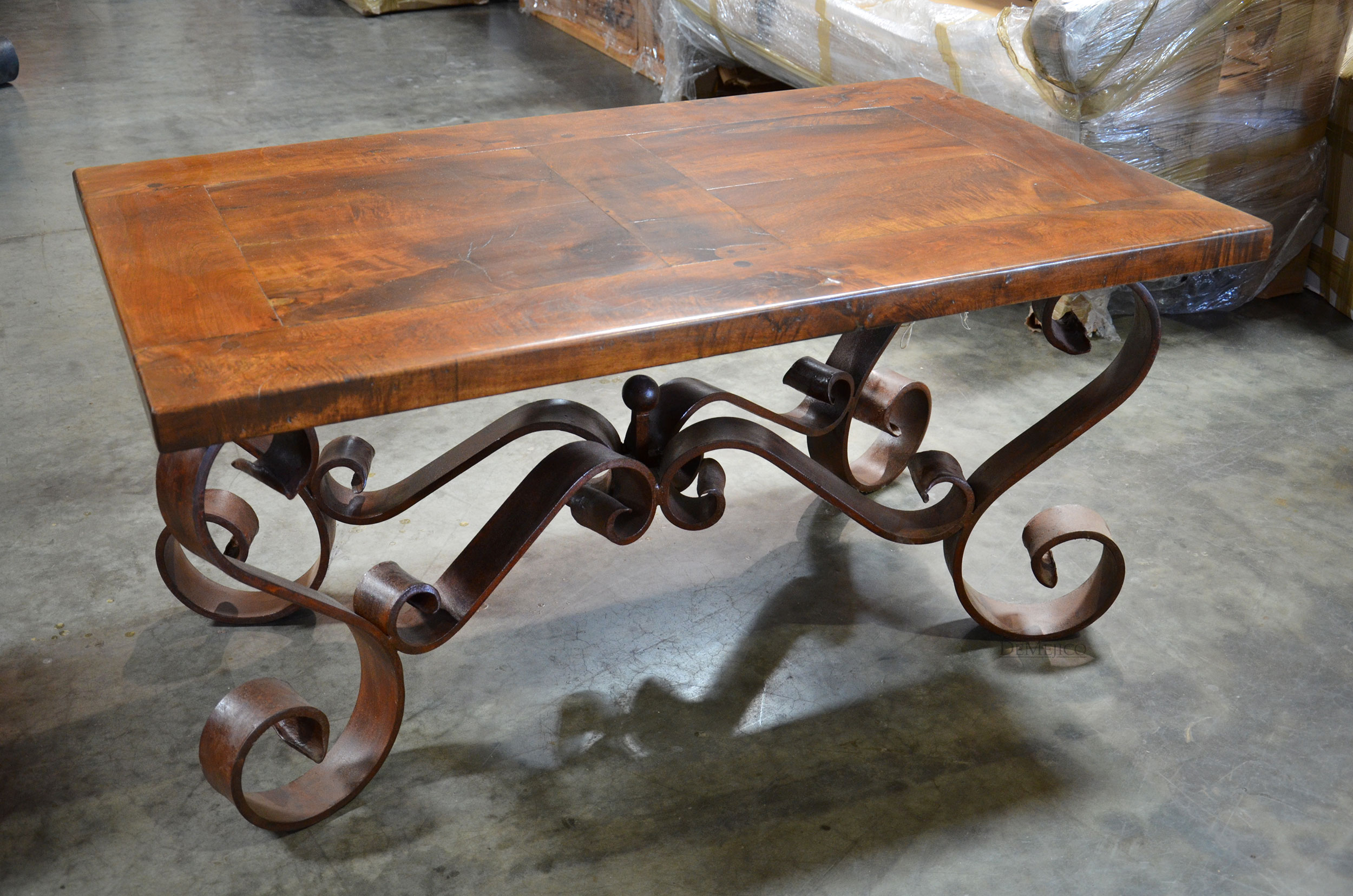 Glass-Wrought-Iron-Coffee-Table-Wonderful-Brown-Walnut-Veneer-Lift-Top-Handmade-Contemporary-Furniture (Image 8 of 10)