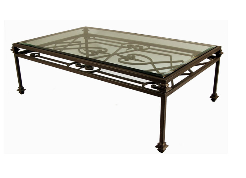 Glass And Iron Coffee Tables Art Deco Wrought Iron Coffee Table Coffee Table With Double Iron Wrought And Glass Top (Image 2 of 10)