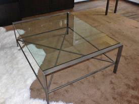 Glass And Iron Coffee Tables Modern Minimalist Industrial Style Rustic Wood Furniture (Image 6 of 10)