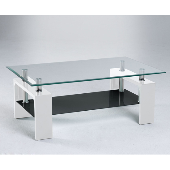 Glass And White Coffee Table Centro Glass Coffee Table With Undershelf And Gloss White Legs (Image 2 of 9)
