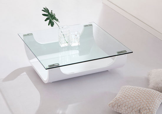 Glass And White Coffee Table Iceberg Contemporary Square Shaped Glass Coffee Table White (Image 4 of 9)