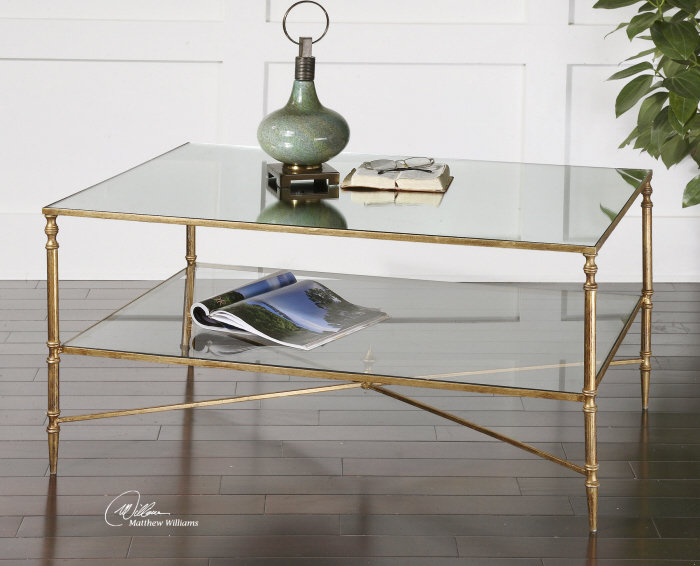 Gold And Glass Coffee Table Handmade Contemporary Furniture Too Much Brown Furniture Inspiration Ideas Simple And Neat Look The Shelf Underneath Is For Magazines Fur (Image 5 of 10)