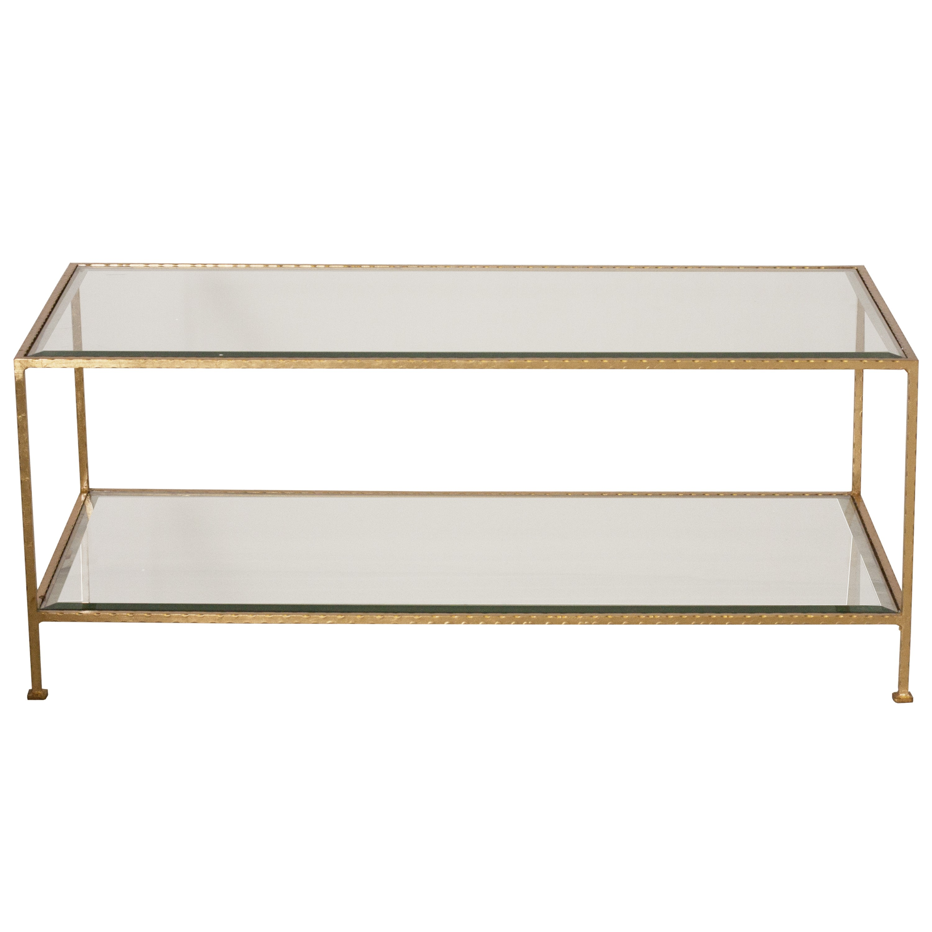Gold Glass Coffee Table Hammered Gold Leaf Rectangular Coffee Table With Beveled Glass Shelves (Image 4 of 10)