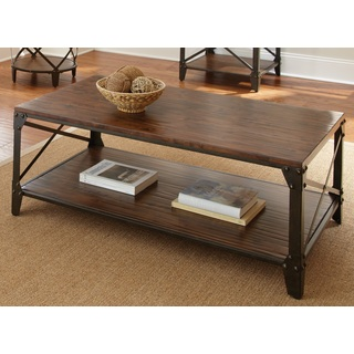 Greyson Living Windham Solid Birch Iron Coffee Table Cheap Rustic Coffee Table Square Shape Dark Brown Wood (View 8 of 9)