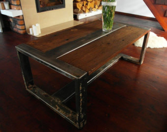Handmade Reclaimed Wood Steel Coffee Table Vintage Rustic Industrial Coffee Table (View 3 of 10)