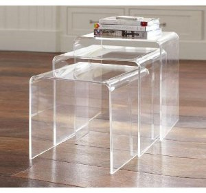 Homcom-3pc-Acrylic-Perspex-Nesting-End-Table-Coffee-Table-Set-Side-Table-Display-Steps-Clear-square-shape-on-living-room (Image 6 of 10)
