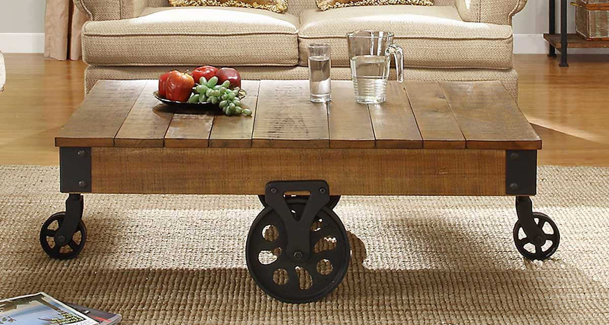 Homelegance-Factory-Cocktail-Table-Solid-Top-with-Wheels-Rustic-Brown-Rustic-Coffee-Table-With-Wheels (Image 3 of 9)