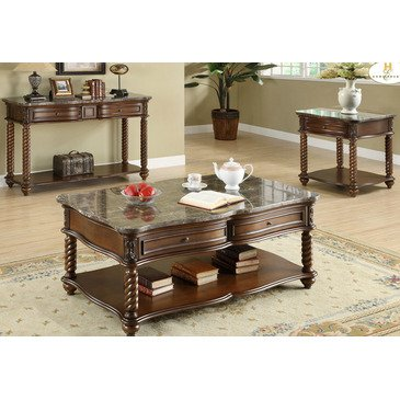 Homelegance Lockwood 3 Piece Rectangular Coffee Table Set With Marble Top 5560 30 (Image 10 of 10)