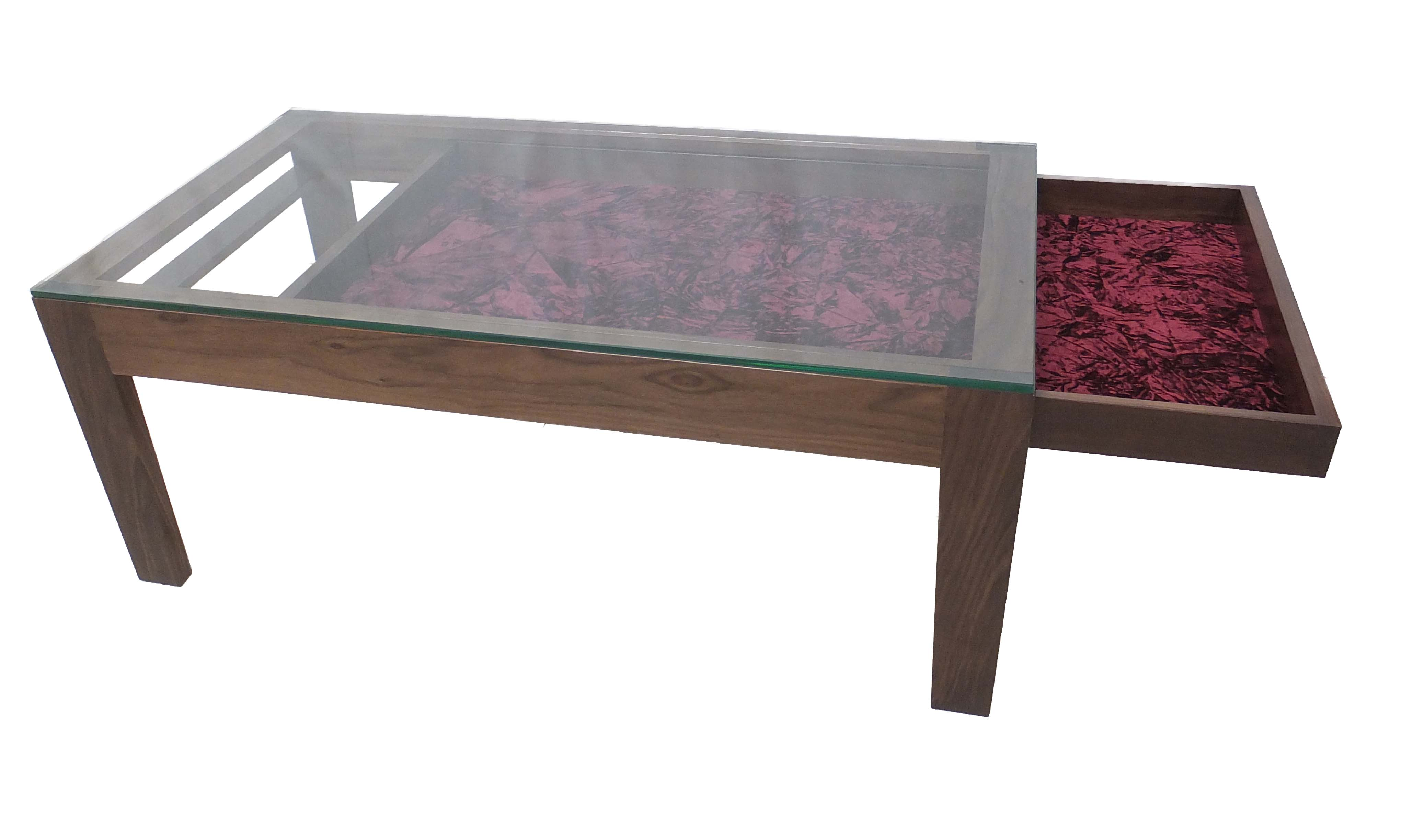 How To Make A Ottoman Coffee Table Made From Solid American Walnut With 10mm Toughened Glass Top And Sliding Drawer Lined With Crushed Velvet (View 10 of 10)