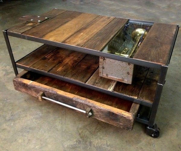 Industrial Coffee Table With Rustic Wood And Metal Custom Do It Yourself (View 4 of 10)
