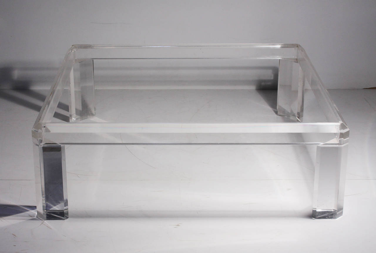 Iucite-and-Glass-Coffee-Table-Clear-Rectangle-Shape-Glass-And-Stainless-Steel-Coffee-Table-Contemporary-Modern-Designer (Image 3 of 9)