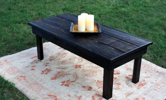Large Coffee Table Reclaimed Wood With 3 Candles Rustic Black Coffee Table (Image 3 of 10)