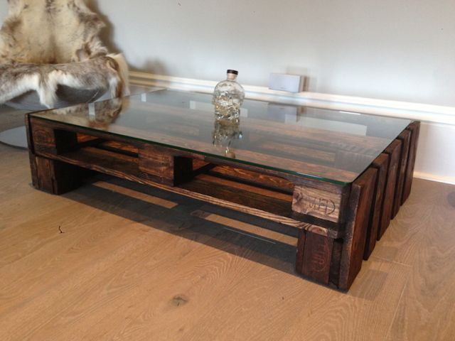 Large Glass Top Upcycled Wooden Coffee Table (Image 1 of 10)