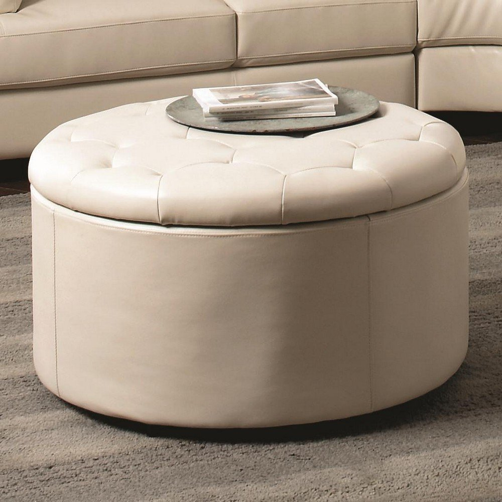 Large Round Storage Ottoman Coffee Table Round Shape With Leather On Skin Tufted Coffee Table With Storage (Image 4 of 9)