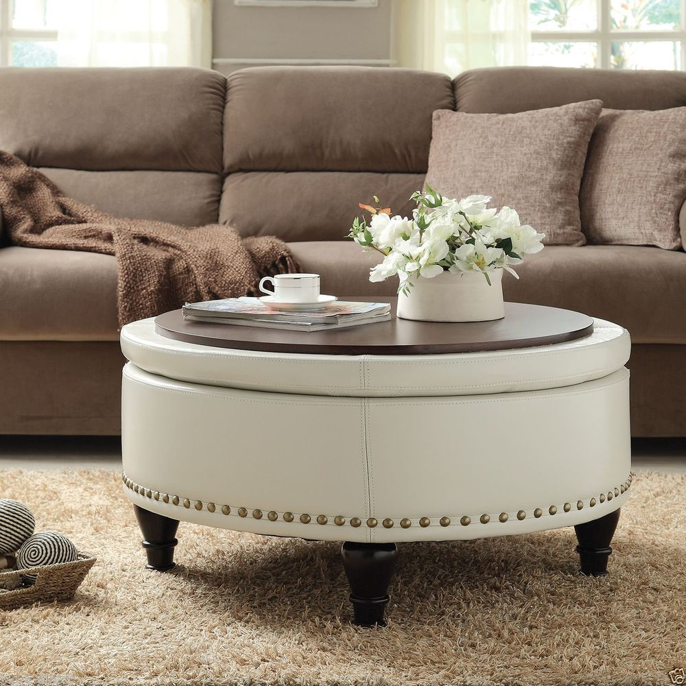 Large Round Storage Ottoman Coffee Table With Leather On Skin Round Ottoman Coffee Table (Image 5 of 9)
