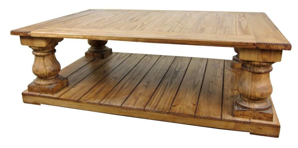 Large Rustic Pine Coffee Table Furniture Square From Wood Furnish Finishing