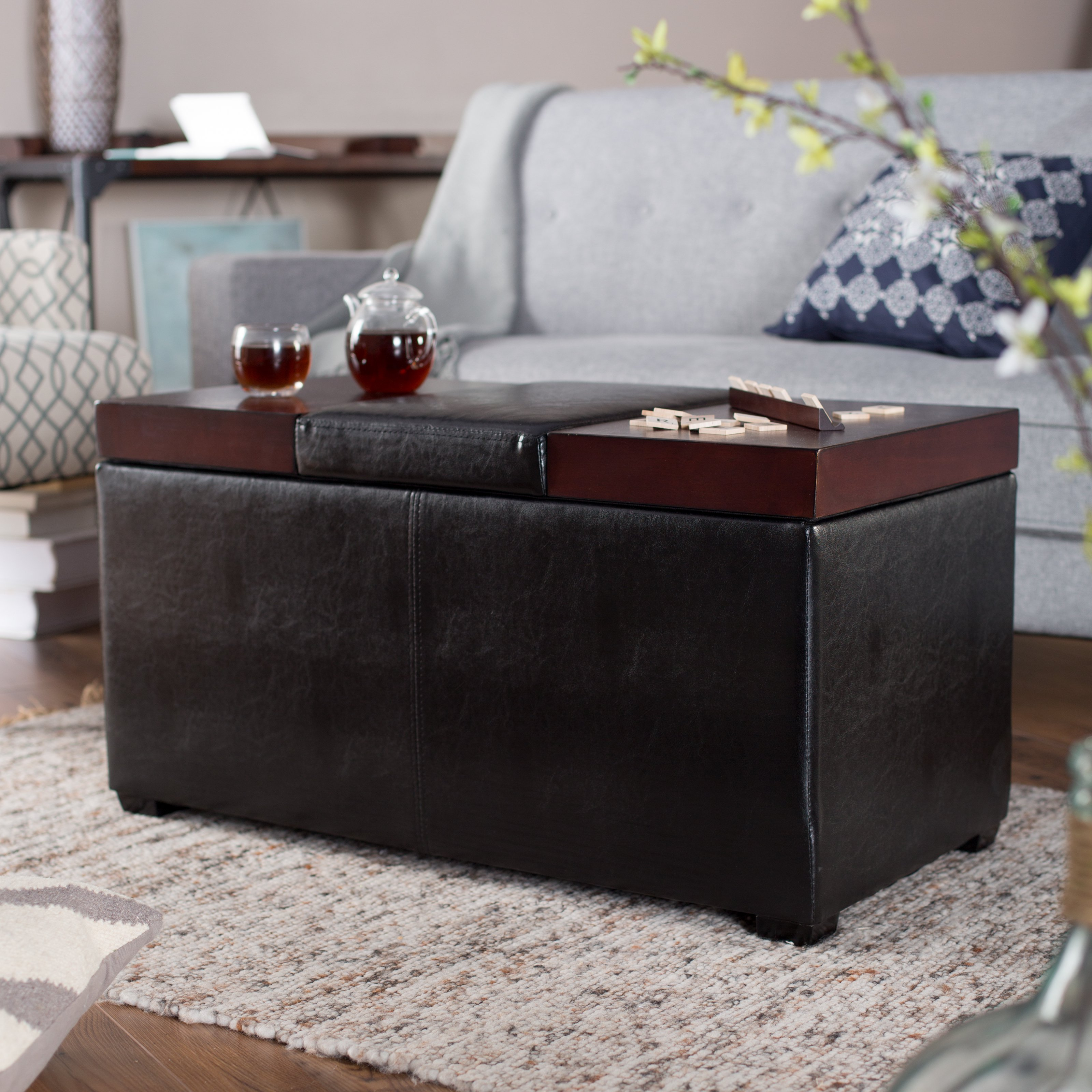 Featured Photo of Leather Coffee Tables Ottoman With Storages