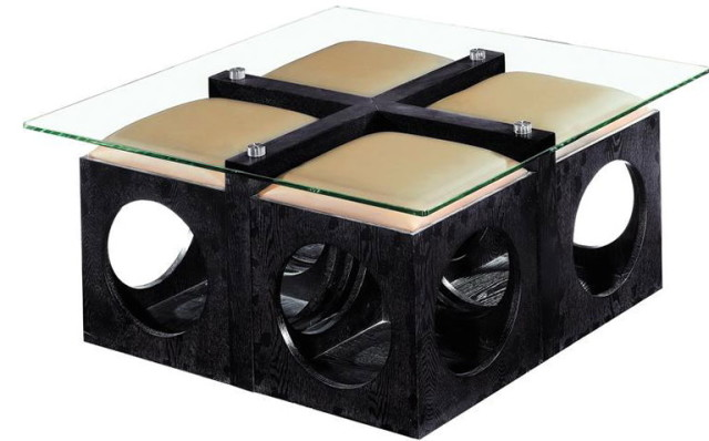 Leather Round Ottoman Coffee Table Storage Coffee Table On The Basis Of Pouf And Frameless Glass Countertop (Photo 9 of 10)