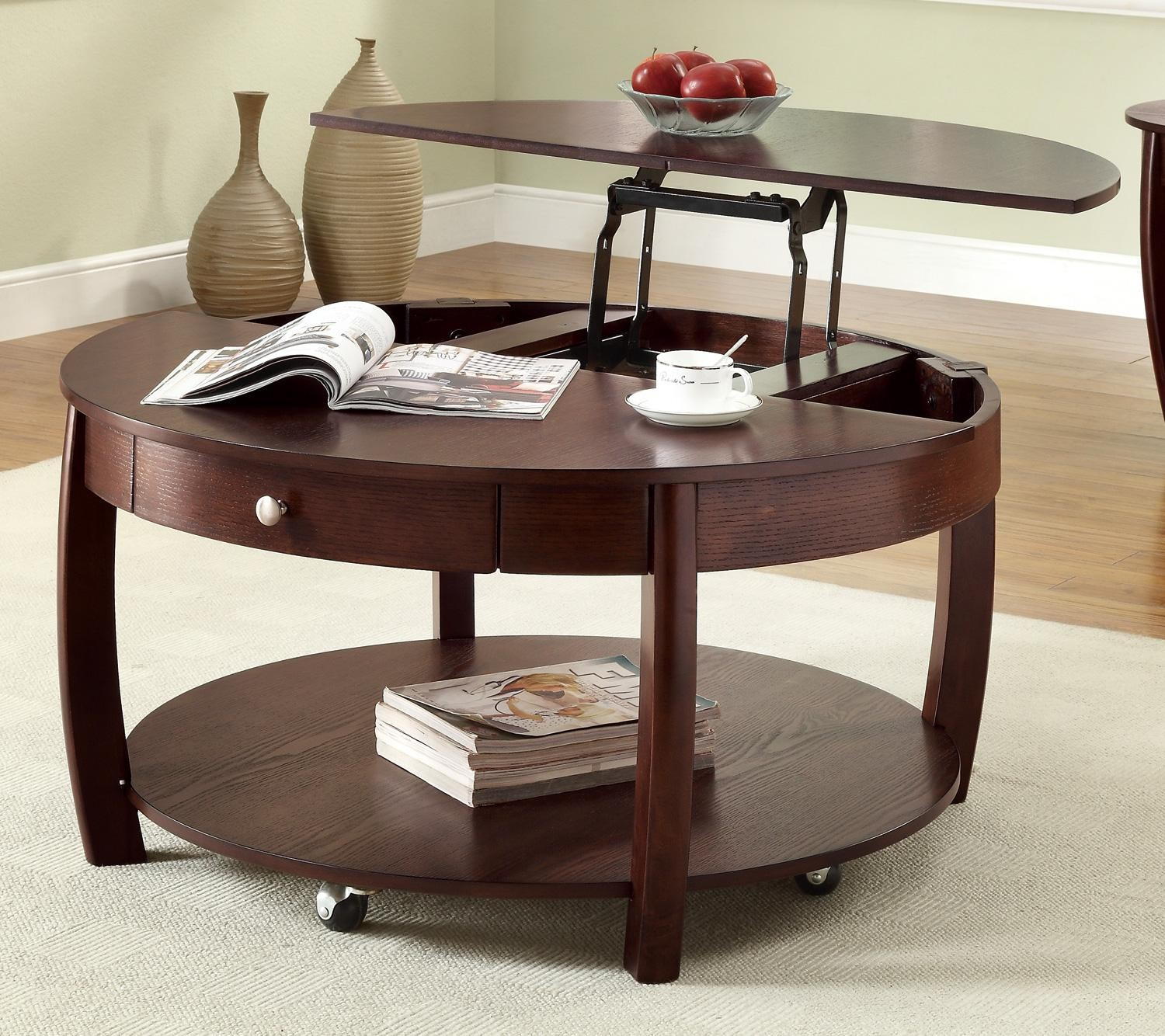 Lift Top Coffee Table Ideas And Design For Living Room Decor Round Lift Top Coffee Table (View 2 of 10)