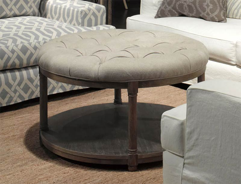 Lorraine Round Contemporary Round Upholstered Coffee Table Lorraine Round Coffee Tab (Image 6 of 10)