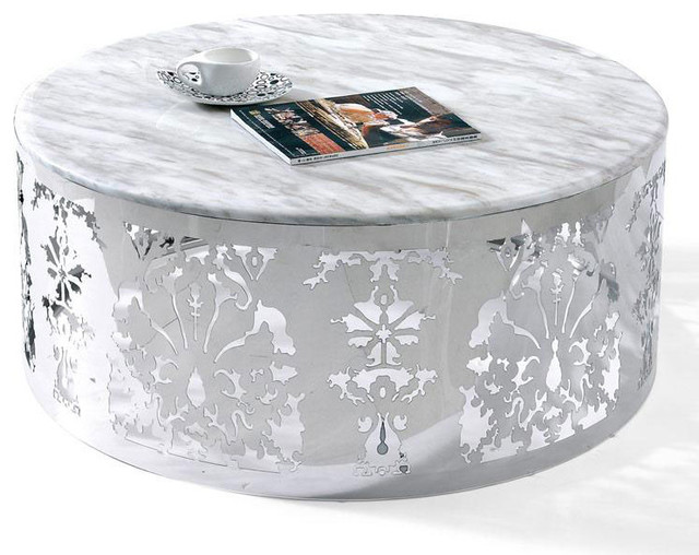MODERN CHROME AND WHITE ROUND COFFEE TABLE LORENZO Modern Coffee Tables (View 9 of 10)