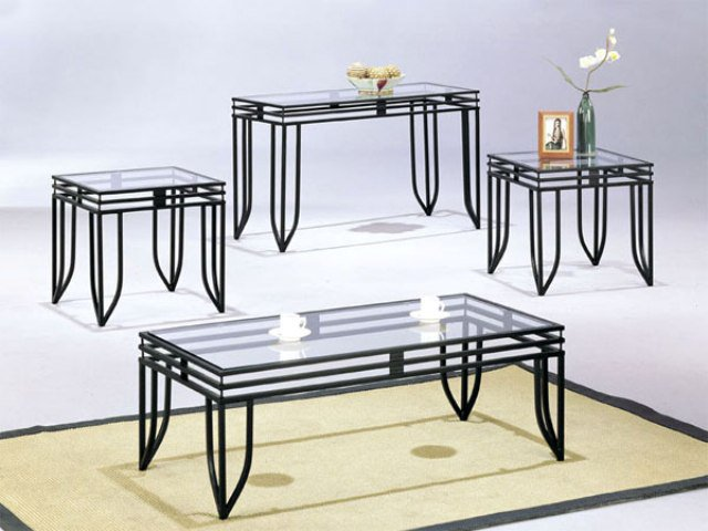 Metal Coffee Table With Glass Top Black Metal Base Modern Glass Top Coffee Table With Console Table Side Table And End Table (Image 3 of 10)