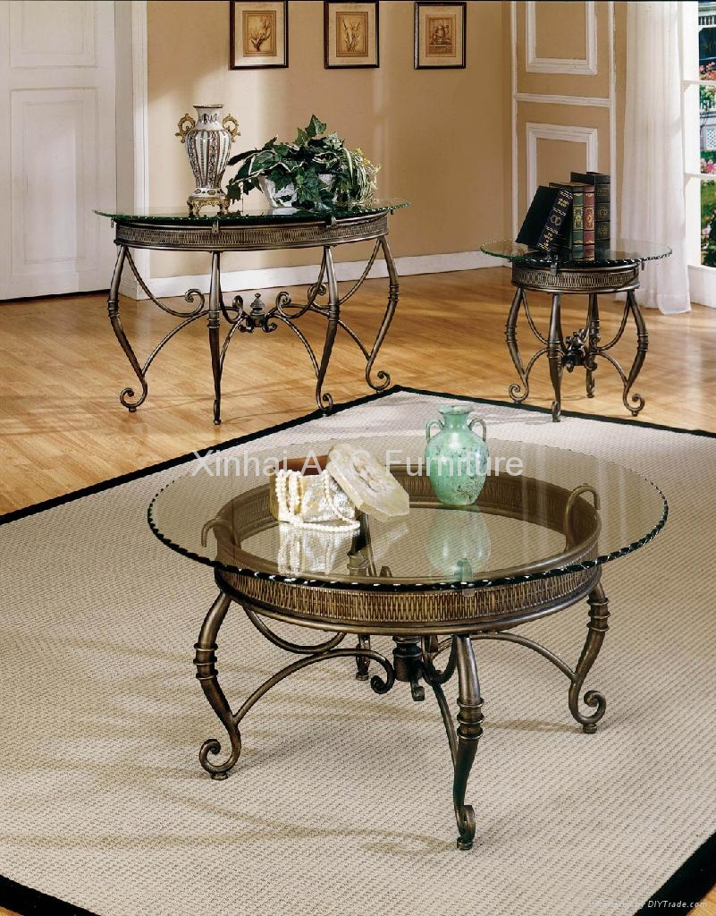 Metal Coffee Table With Glass Top Modern Glass Top Powder Coated Metal Coffee Table (Image 9 of 10)