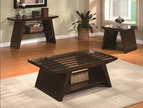 Midori Dark Brown Finish Wood Coffee Table With Lower Shelf And Glass Top (View 9 of 10)