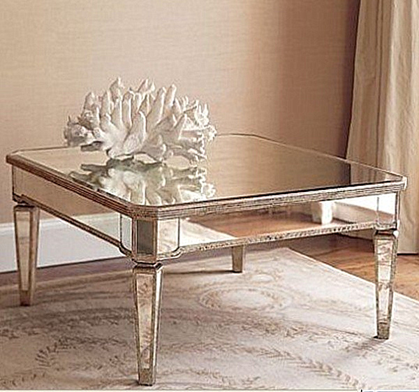 Mirrored Glass Coffee Table Its Antiqued Mirror Top Is As Striking As The Round Shape Drawer Wood Storage Accent Side Table (Image 7 of 10)