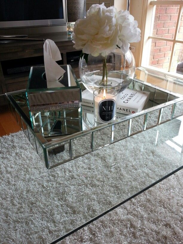 Mirrored Glass Coffee Table The Perfect Size To Fit With One Of Our Younger Sectional Sofas Simple Woodworking Projects For Cub Scouts (Image 8 of 10)