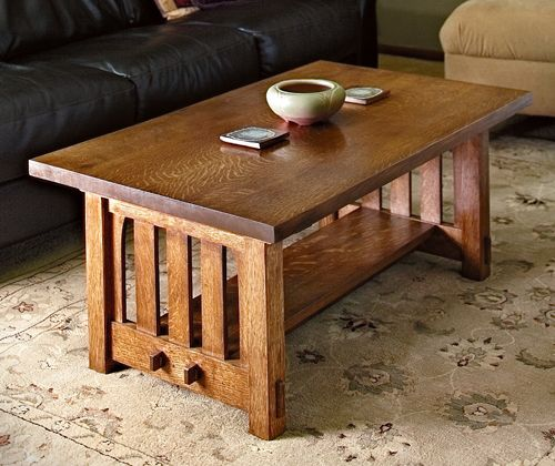 Mission Style Coffee Table In The Arts And Crafts Tradition (Image 4 of 9)
